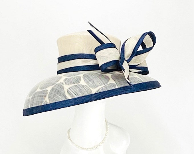 Navy and Light Gray Giraffe Wide Brim Hat
