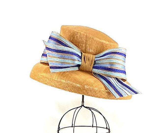 Tan and Blue Sinamay Small Brim Hat