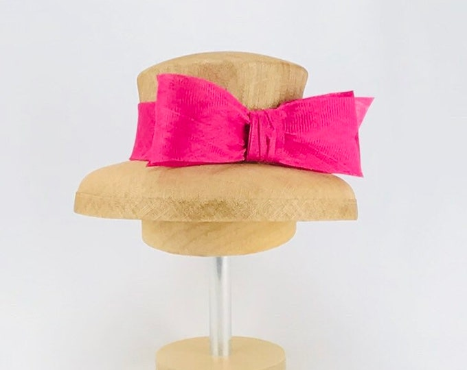 Tan Sinamay Hat with Fuchsia Bow