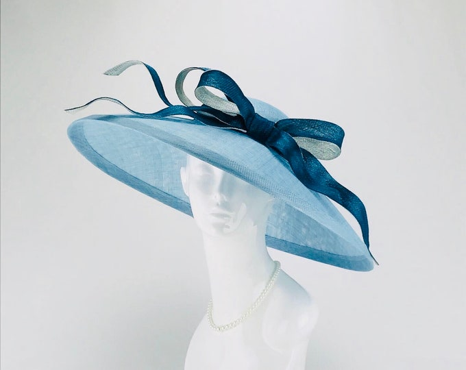 Light Blue Sinamay Wide Brim Hat