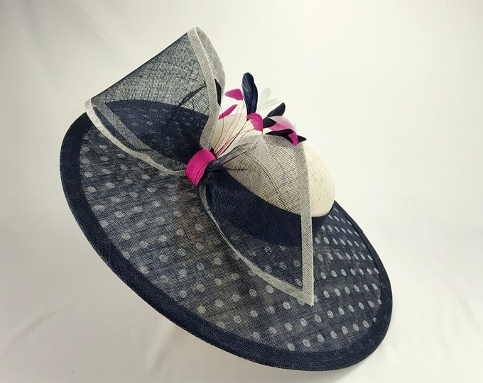 Navy Polkadot Wide Brim Hat