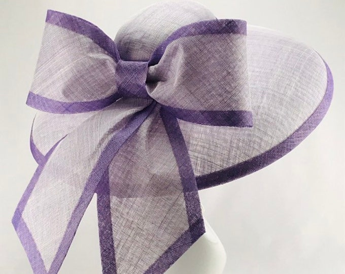 Pale Lavender and Dark Lavender Wide Brim Sinamay Hat