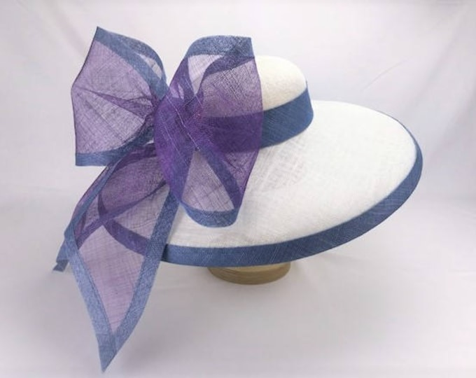White Wide Brim Sinamay Hat with Blue and Purple Bow