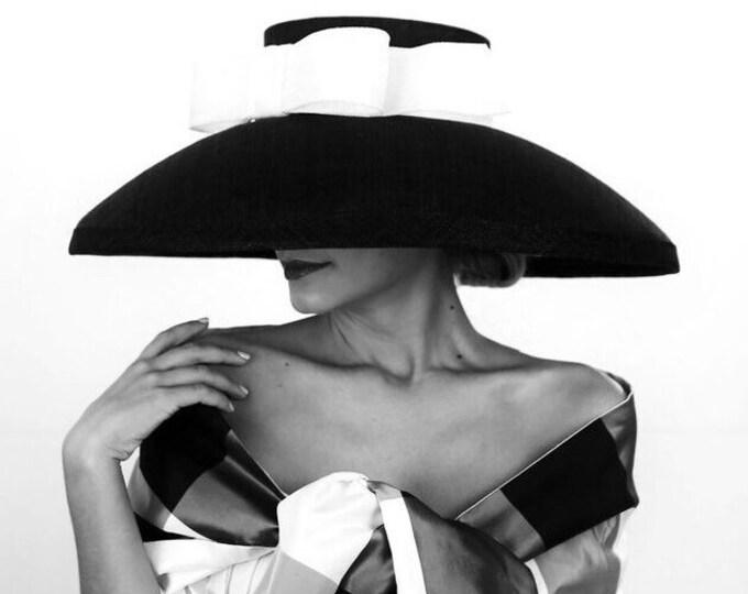 Black Sinamay Audrey Hepburn Style Hat