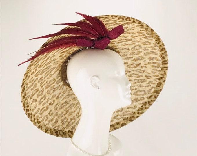 Leopard Sinamay Wide Brim Hat
