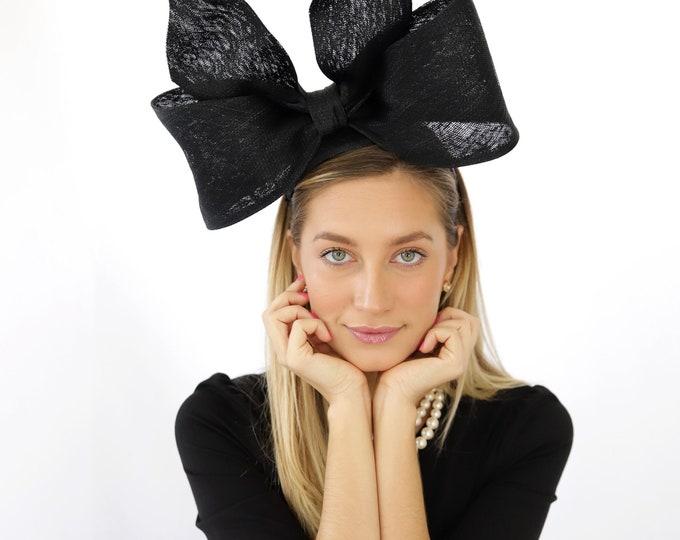 Black Bow Fascinator