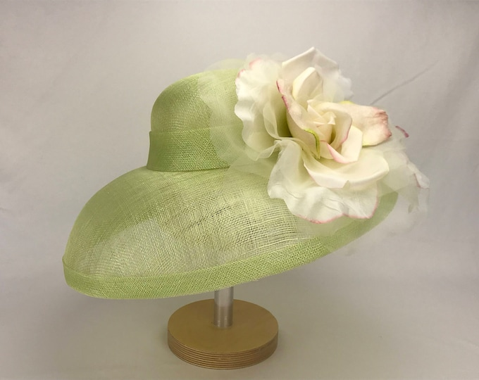 Pale Green Sinamay Hat with Grand Millinery Silk Flower