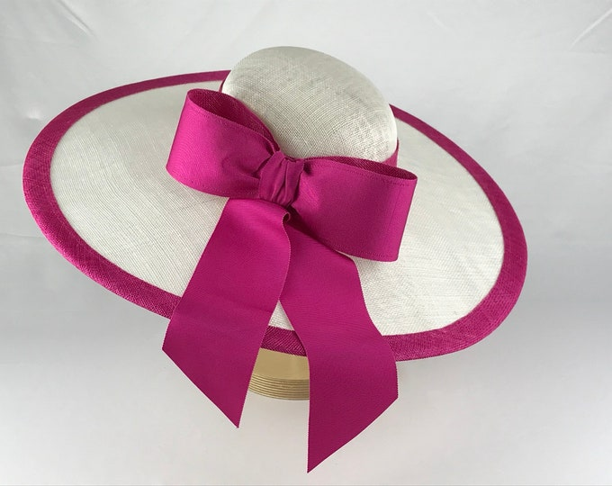 White Wide Brim Sinamay Hat with Bright Pink Trim and Bow
