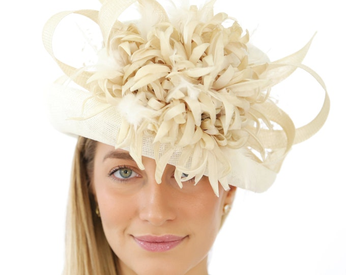Ivory Small Brim Sinamay Hat