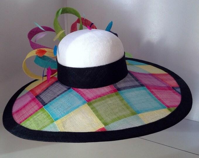 Multi color Wide Brim Sinamay Hat