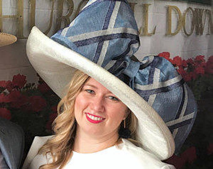 Ivory Wide Brim Hat With Blue Trim