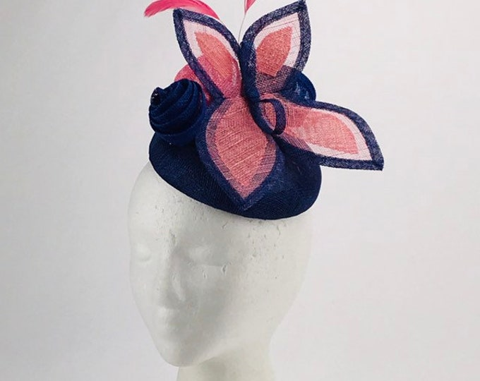 Cobalt and Pink Butterfly Fascinator
