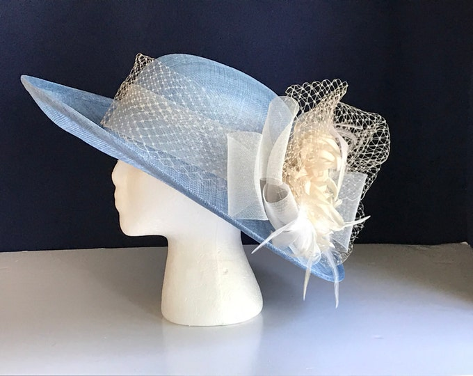 Blue Sinamay Upturn Brim Hat