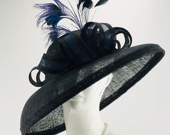 Black and Navy Sinamay Wide Brim Hat