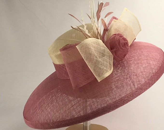 Mauve and Ivory Wide Brim Sinamay Hat