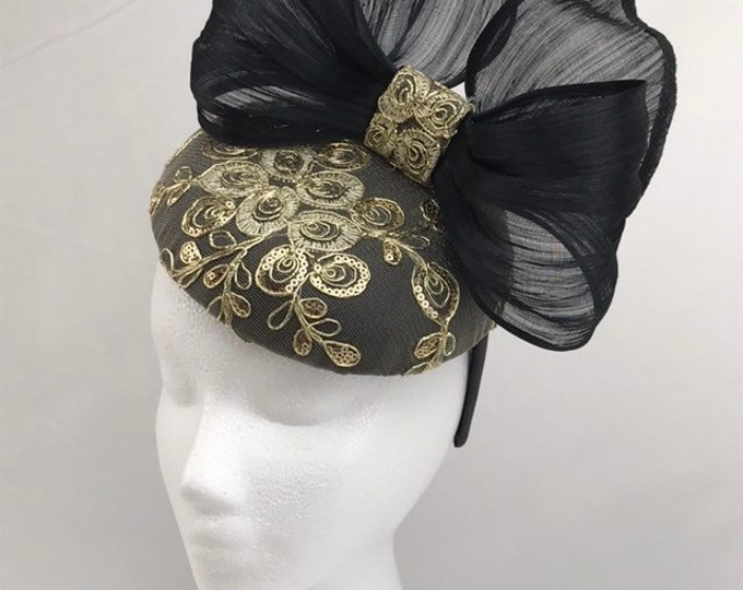Black and Gold Cocktail Fascinator