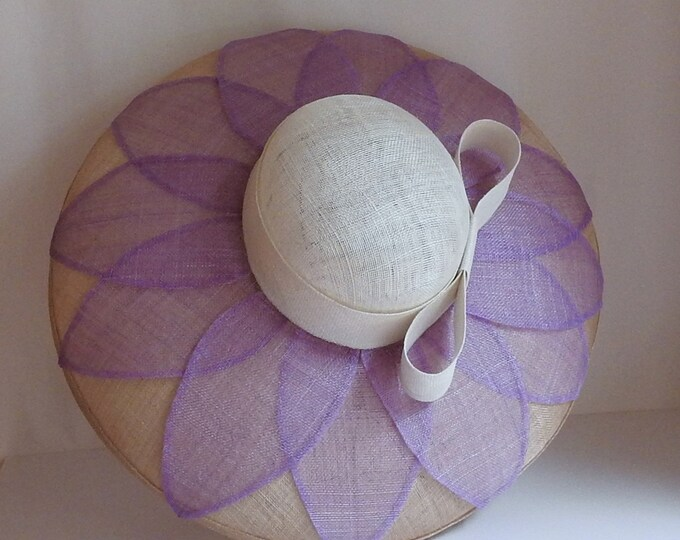 Lavender Flower Wide Brim Sinamay Hat