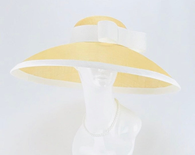 Tan and White Audrey Hepburn Style Wide Brim Hat