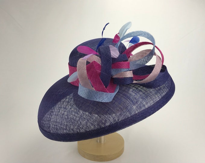 Cobalt Blue Sinamay Hat with Multi Color Bow
