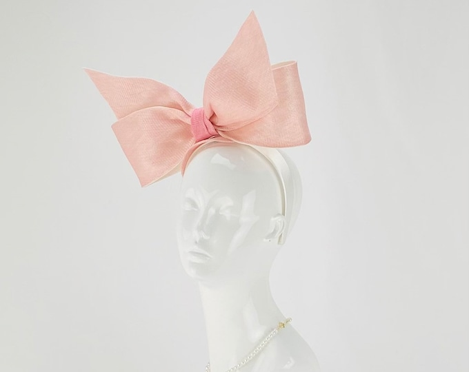 Pink and White Bow Fascinator