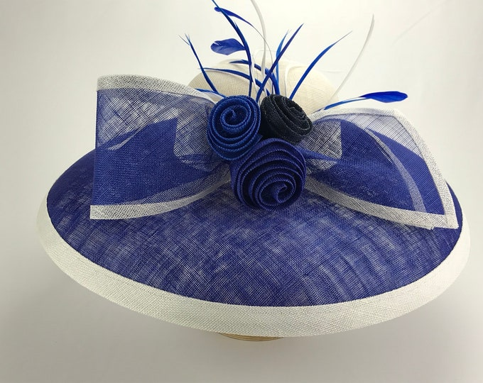 Cobalt Blue and White Wide Brim Sinamay Hat