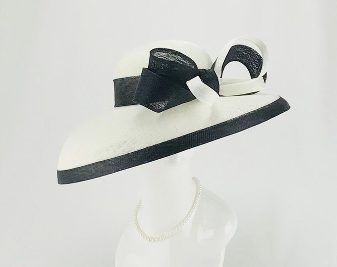 White and Black Wide Brim Hat