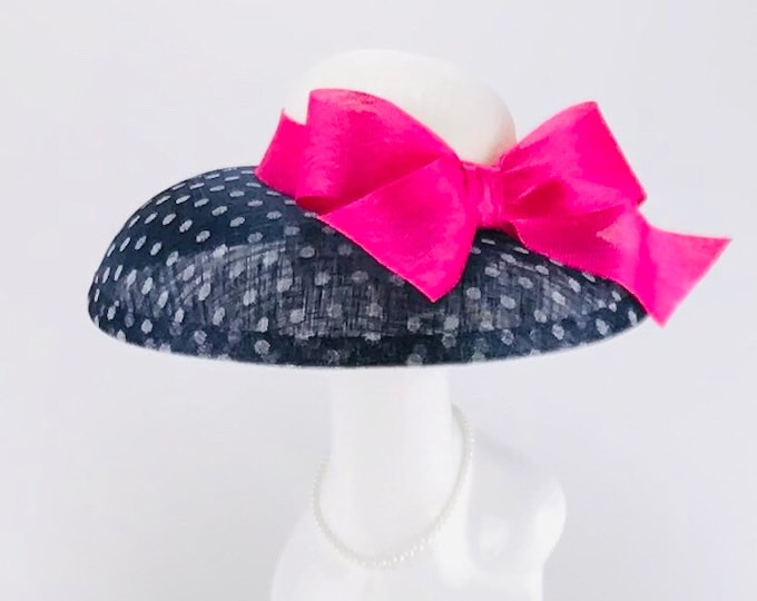Navy and White Polka Dot Sinamay Hat with Fuchsia Bow