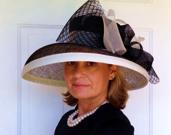 Black and Ivory Wide Brim Sinamay Hat