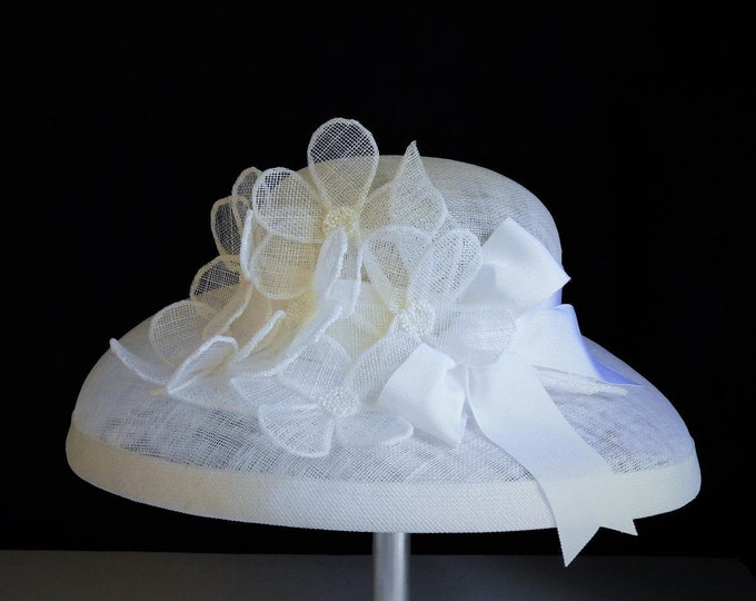 White Sinamay Hat with Floral Trim