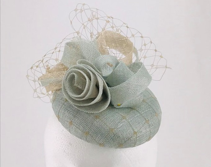 Light Blue and Beige Fascinator