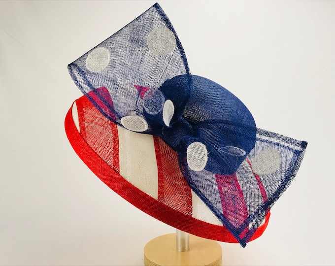 Red, White and Blue Sinamay Wide Brim Hat