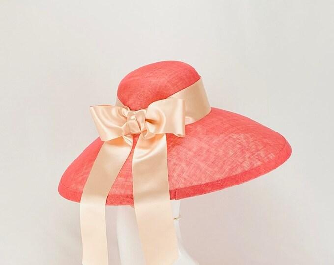 Audrey Hepburn Style Wide Brim Sinamay Hat