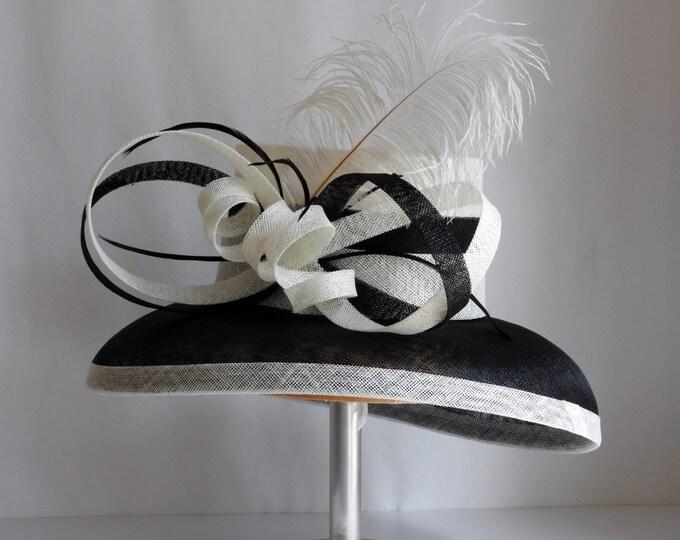 Black & Ivory Sinamay Hat