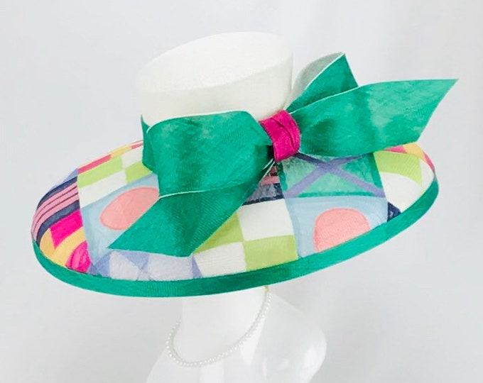 Jockey Silks Wide Brim Sinamay Hat
