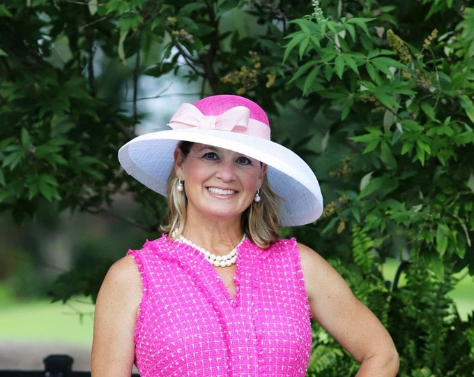 Pink and White Wide Brim Hat