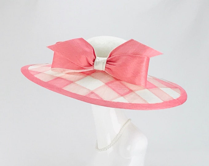 Pink & White Buffalo Check Wide Brim Hat