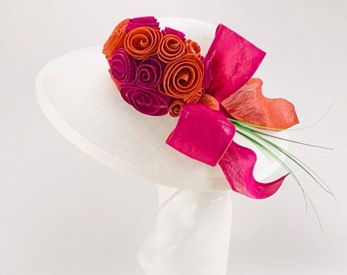 White, Pink and Orange Sinamay Hat