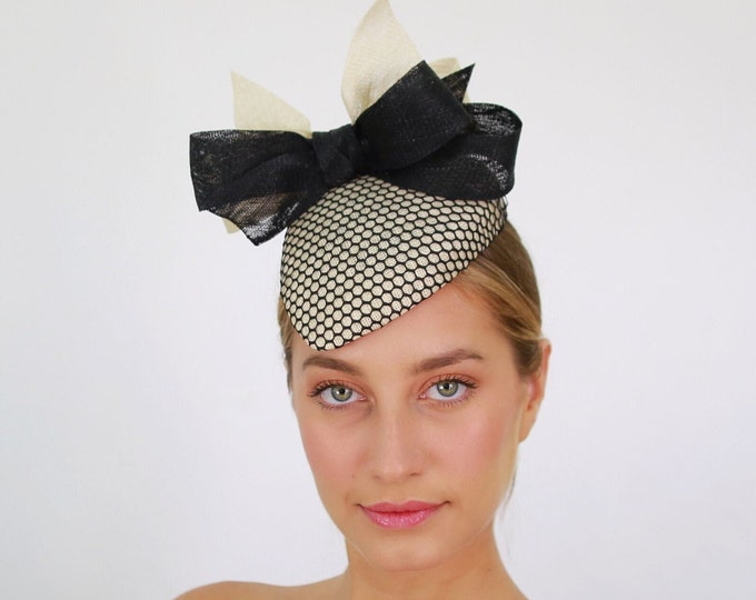 Ivory and Black Fascinator
