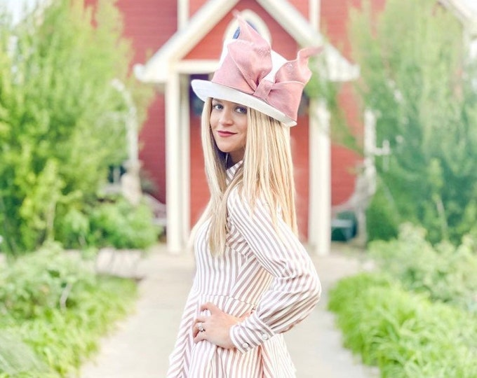White Small Brim Hat with Mauve Bow