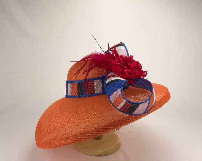 Orange Sinamay Wide Brim Hat