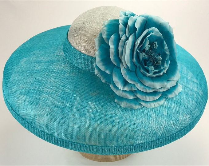Turquoise Wide Brim Sinamay Hat