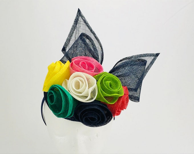 Navy Fascinator with Multi Color Roses
