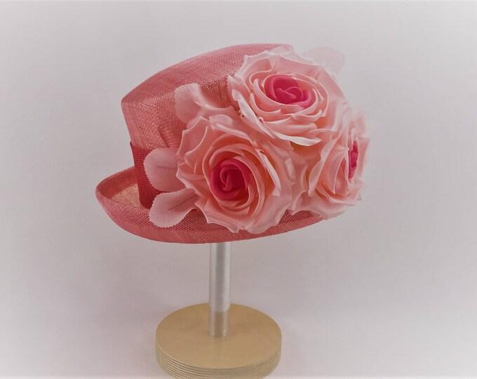 Coral Pink Sinamay Small Brim Hat