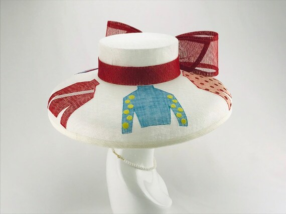 White Jockey Silk Wide Brim Hat
