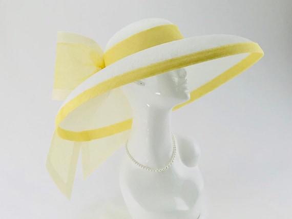 White Sinamay Wide Brim Hat