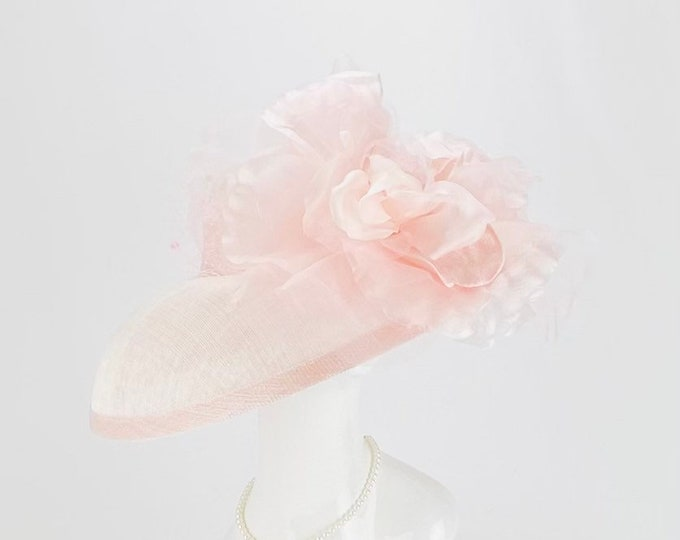 Light Pink Sinamay Wide Brim Hat