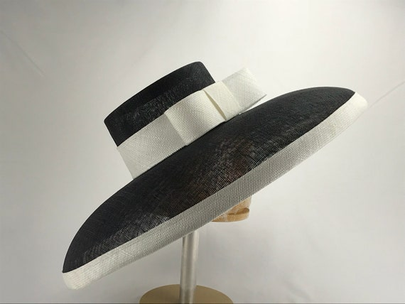 Black and White Wide Brim Sinamay Hat  32316163519