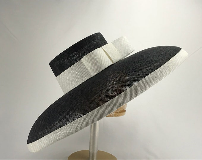 Black and White Wide Brim Sinamay Hat