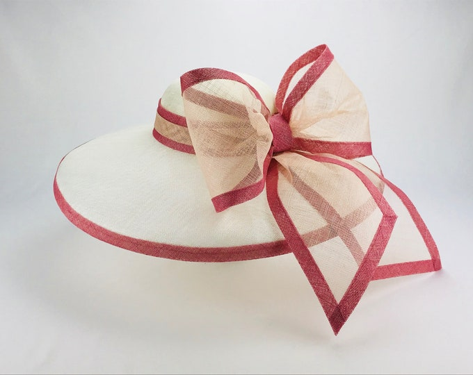 Ivory Wide Brim Hat with Mauve and Blush Bow