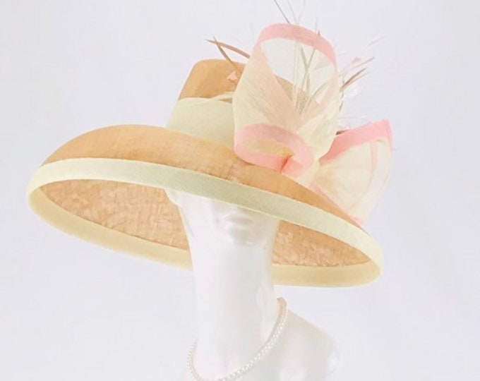 Beige & Ivory Sinamay Wide Brim Hat